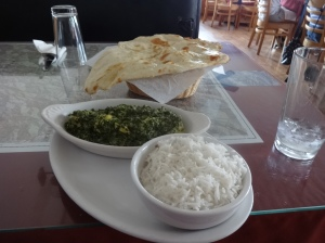 Saag chicken and naan bread in the Rockies.