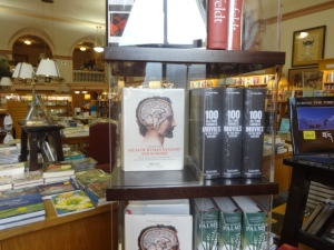 In a Boulder bookstore. on the left anatomy, a reminder of my brief but happy medical training, and on the right: movies!