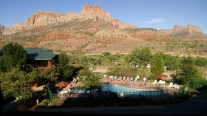 From my balcony at entrance to the park. tomorrow: into Zion National Park, on foot.