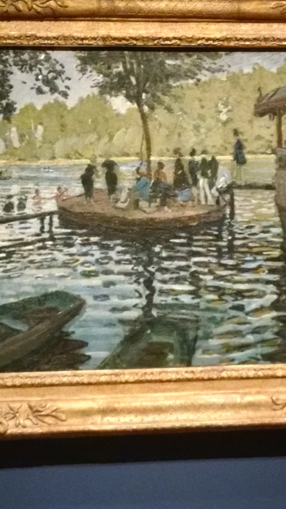 "The water ripples center on the raft and its well dressed population of ""bathers."" This is just part of the painting."